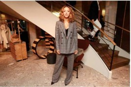 Zoe Buckman in Max Mara grey check suit.