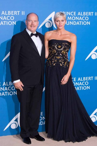 "MONACO - SEPTEMBER 28: Prince Albert II of Monaco and Princess Charlene of Monaco attend the Inaugural ""Monte-Carlo Gala For The Global Ocean"" Honoring Leonardo DiCaprio at The Monaco Garnier Opera on September 28, 2017 in Monaco, Monaco. (Photo by Stephane Cardinale - Corbis/Corbis via Getty Images)"