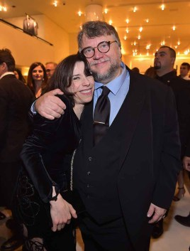 BEVERLY HILLS, CA - MARCH 03: Sally Hawkins (L) and Guillermo Del Toro attend Giorgio Armani's celebration of 'The Shape of Water' hosted by Roberta Armani on March 3, 2018 in Beverly Hills, California. (Photo by Donato Sardella/Getty Images for Giorgio Armani)