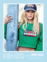Cropped grass green sweatshirt in cotton molleton with KENZO archive chest tab in 'bamboo tiger' jacquard $270 Denim Memento cap in navy blue $95