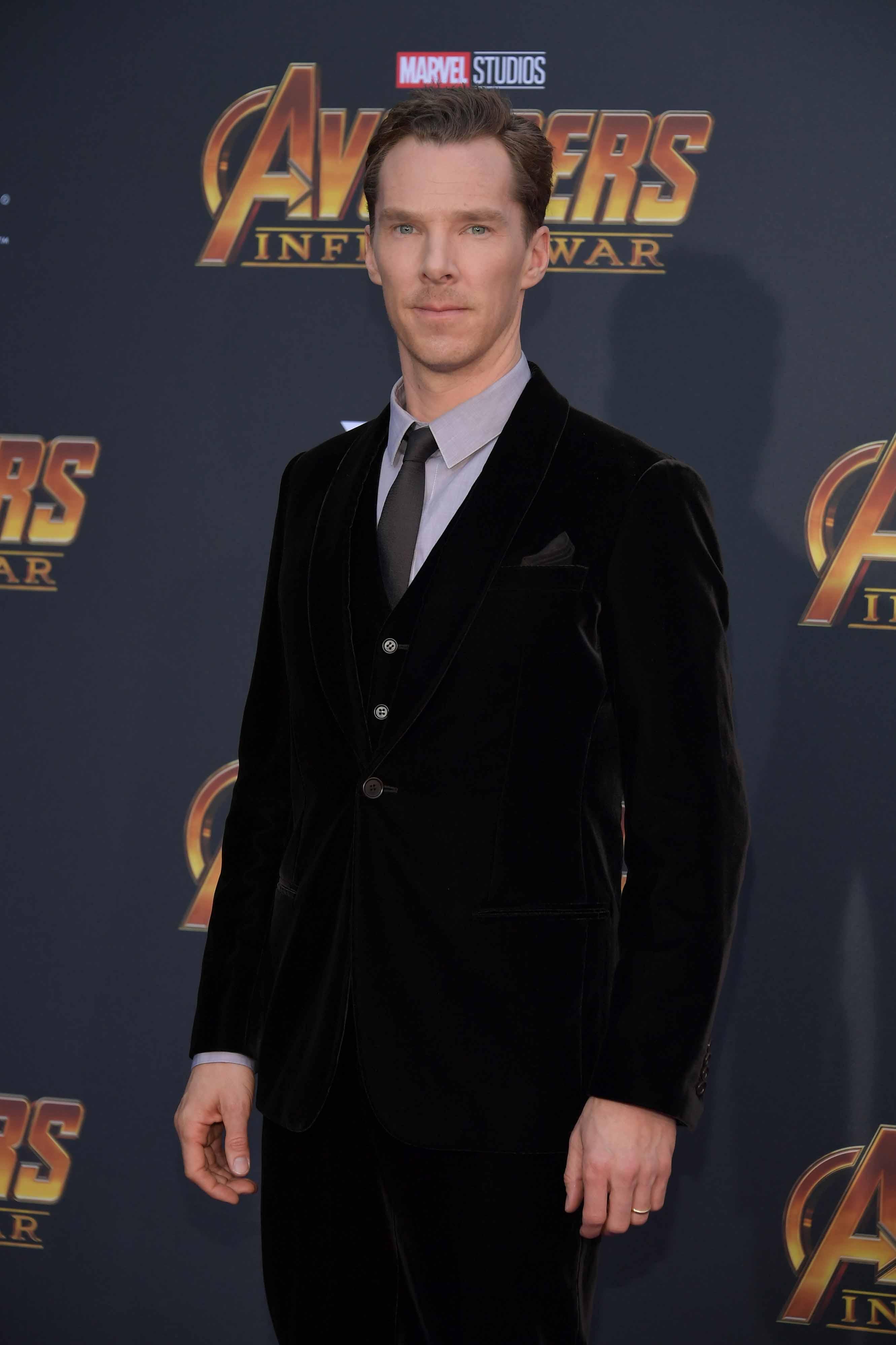 benedict cumberbatch dons giorgio armani at avengers: infinity war