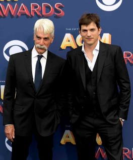 The 53rd Academy of Country Music Awards red carpet is held at the MGM Grand Garden Arena on the Las Vegas Strip. Here actors Sam Elliott and Ashton Kutcher walk the ACM red carpet. Sunday, April 15, 2018. CREDIT: Glenn Pinkerton/Las Vegas News Bureau