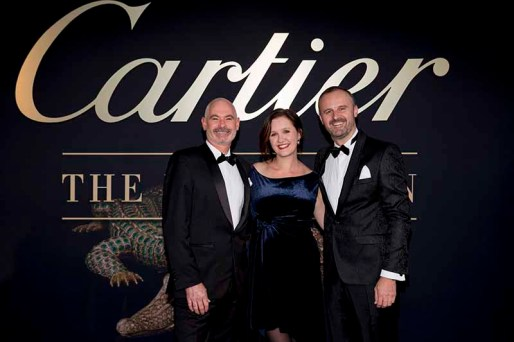 CANBERRA, AUSTRALIA - MARCH 27: Anthony Toms, Kirsten Paisley Deputy Director of the NGA and ACT Chief Minister, Andrew Barr attend the Cartier: The Exhibition Black Tie Dinner at the National Gallery of Australia on March 27, 2018 in Canberra, Australia. (Photo by Cole Bennetts/Getty Images)