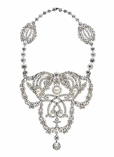 Cartier Paris Devant de corsage/necklace 1902 platinum, diamonds, pearls, private collection. Provenance: Dame Nellie Melba