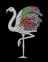 Cartier Paris Flamingo brooch 1940, special order, platinum, gold, diamonds, emeralds, sapphires, rubies, citrine, 9.7 x 9.6 cm, Photo: Nils Herrmann, Cartier Collection, © Cartier. Provenance: Duchess of Windsor