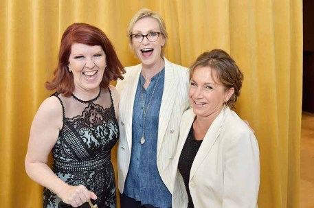 BEVERLY HILLS, CA - JUNE 13: Kate Flannery, Jane Lynch and SAG-AFTRA President Gabrielle Carteris attend the Women In Film 2018 Crystal + Lucy Awards presented by Max Mara, Lancôme and Lexus at The Beverly Hilton Hotel on June 13, 2018 in Beverly Hills, California. (Photo by Stefanie Keenan/Getty Images for Women In Film)