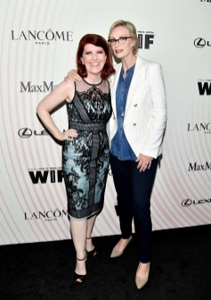 BEVERLY HILLS, CA - JUNE 13: Kate Flannery (L) and Jane Lynch attend the Women In Film 2018 Crystal + Lucy Awards presented by Max Mara, Lancôme and Lexus at The Beverly Hilton Hotel on June 13, 2018 in Beverly Hills, California. (Photo by Emma McIntyre/Getty Images for Women In Film)