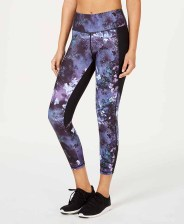 Ideology Printed Mesh-Trimmed Cropped Leggings