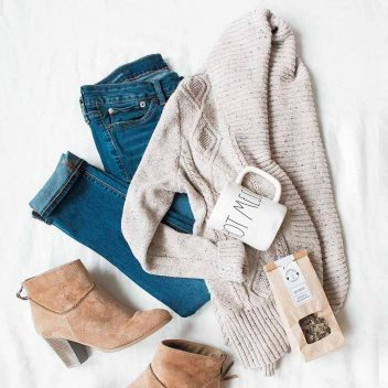 denim and sweater