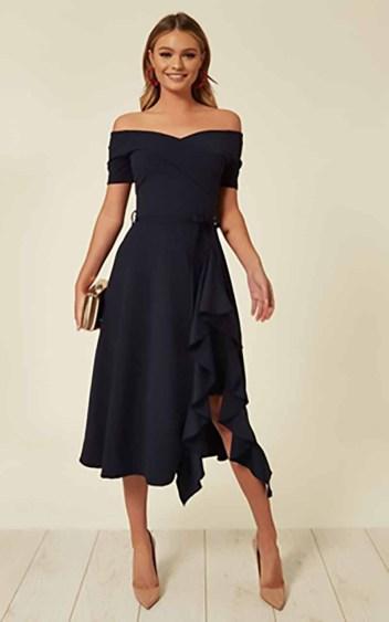 Bardot Off Shoulder Frill Midi Dress Navy