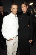 Eva Mendes and Francisco Costa backstage at Calvin Klein