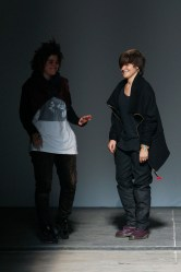 Crommorc designers Carolina Caralt and Rosa Tharrats on the runway