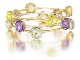 Yellow Gold Bangles with Lemon Citrine, Amethyst, and Green Quartz, $3,995‐$8,860