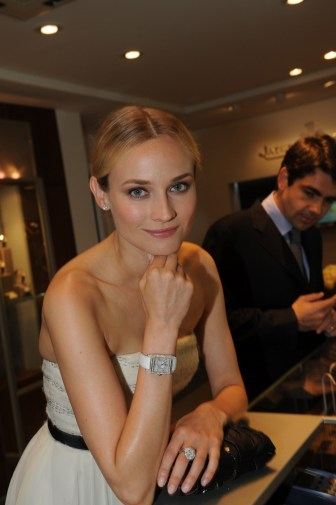 Diane Kruger wearing a Jaeger-LeCoultre Reverso Squadra Lady