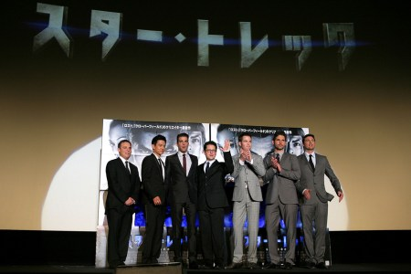 Bryan Burk; John Cho; Zachary Quinto; J. J. Abrams; Chris Pine; Eric Bana; Karl Urban