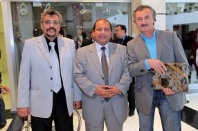 Painter Akmal Nur(R) with guests