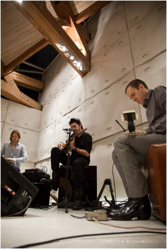 (L-R) Konrad Meissner on percussions, Seb Leon on Guitar, Kyle Fischer on Lap Steel guitar