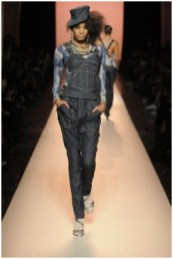 The denim overall top and jeans on the Jean Paul Gaultier Spring 2010 runway