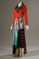 Xuly-Bët, dress and jacket ensemble, multicolor sweaters, brown wool plaid, red nylon, fall 1994