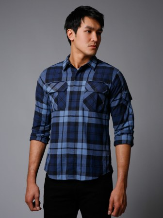 Edun Cotton Twill Plaid Shirt