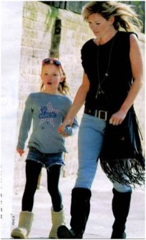 Kate Moss with daughter Lila Grace wearing Bella Freud