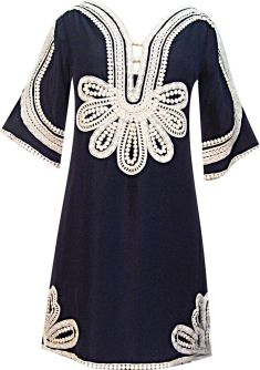 Marrakesh Nouveau Folk Mini Dress in Marine/Milk, $366