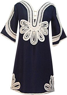 Marrakesh Nouveau Folk Mini Dress in Marine/Milk, $366