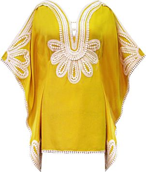 Marrakesh Nouveau Folk Caftan in Golden/Milk, $297