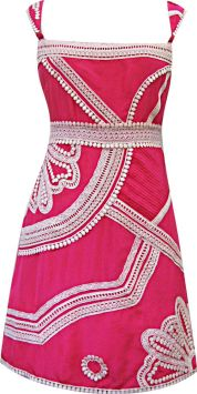 Marrakesh Nouveau Folk Party Dress in Pink/Milk, $366