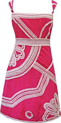 Marrakesh Nouveau Folk Party Dress in Pink/Milk, $366