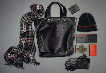 Crinkle Plaid Scarf ($58); Wythe Tote ($398); Essex Collection Name Card Case ($68); Knit Stripe Hat ($68); Essex Collection Coin Wallet ($108); Handheld Sleeve ($68); Lambskin Glove ($98)