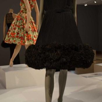 Norman Norell Black Evening Dress Pleated Silk Crepe - Fox Trim