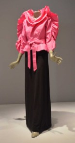 13 Halston Magenta Dinosaur Jacket with Black Skirt