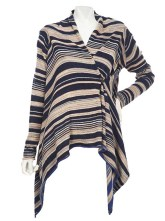 Belle Gray by Lisa Rinna Striped Cardigan with Button Closure