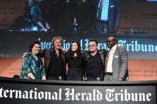 Suzy Menkes, International Herald Tribune Fashion Editor, Renzo Rosso, Diesel Founder, Alison Hewson and Bono announced the Diesel+Edun collaboration