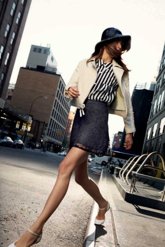 Davie Moto Jacket - Spearmint, Jaye Shirt in Vertical City Stripe, Talley Skirt