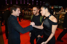 (L-R) Tom Cruise, Nicole Scherzinger and Lewis Hamilton