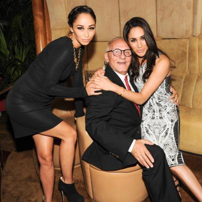 """""""Meghan Markle, Max Azria, and Cara Santana at the BCBGMAXAZRIA Runway and Herve Leger by Max Azria Spring 2014 exclusive after party"""""""