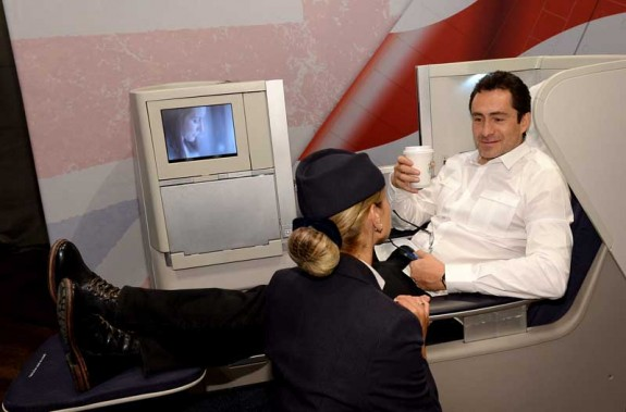 Demian Bichir, Dom Hemingway, kicks back for a coffee break in the British Airways Club World Seat