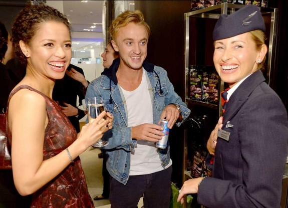 Gugu Mbatha and Tom Felton discussing traveling in style with British Airways at the Variety Studio during 2013 TIFF