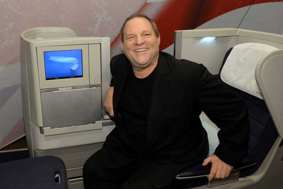 Entertainment industry mogul, Harvey Weinstein, 12 12 12, gets off his feet in between events and enjoys British Airways 787 Club World Seat