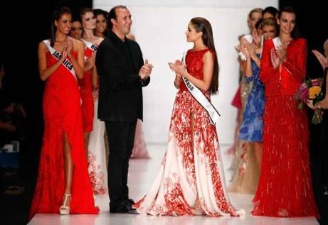 Designer Tony Ward and Miss Universe Olivia Culpo