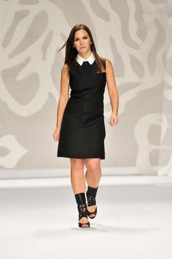 Designer Monique Lhuillier on the catwalk Spring 2014 season