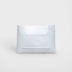 White Embossed 'YY' clutch $695