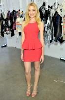 """Brianne Howey wears BCBGMAXAZRIA """"Francis Layered Ruffle Dress"""" (LHL6Y025); BCBGENERATION """"Manci Shoes"""""""