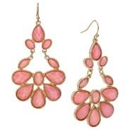 Women's Hanging Stone Fish Hook Earrings, Pink/Gold, $7.99