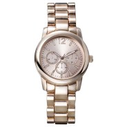 Merona Analog Link Wristwatch with Decorative Dials, Rose Gold, $16.99