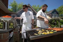 Chefs manning the bar-b-que