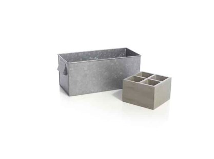 Crate and Barrel GalvanizedCaddyWTrayLLS14