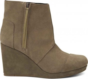 TOMS Desert Wedge High- Taupe Suede